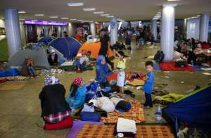 Syrian refugees with whats over of their belongings in the train station in Boedapest, Hungary .(August 2015)